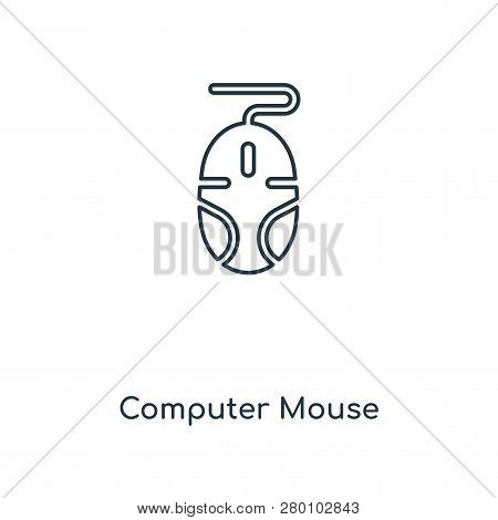 Computer Mouse Icon In Trendy Design Style. Computer Mouse Icon Isolated On White Background. Comput
