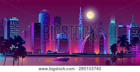 Vector Background With Night City In Neon, Ultraviolet Colors. Bright River With Boat, Ship On Bay A