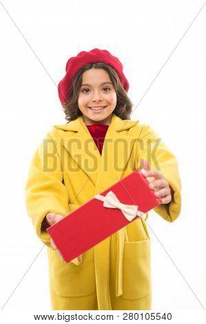 Birthday Wish List. Girl Happy Kid Hold Birthday Gift Box. Birthday Shopping. Every Girl Dream About