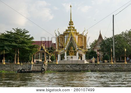 Wat Nang Kui Temple Nearby The Chao Phraya River In Ayutthaya, Thailand