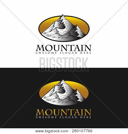 Mountain Logo, Hills Logo, Mountain Symbol, Mountain Icon, Mountain Logo Templat, Mountain Vector Ep