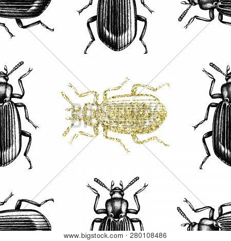 Darkling Beetle Pattern Gold