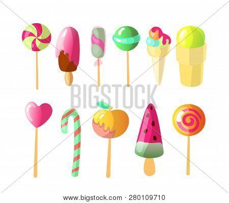 Set Of Bright Vector Candies, Ice Creams Set Of Colorful Lollipops And Ice-cream, Cartoon Illustrati