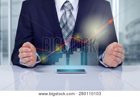 Business Concept The Companys Growth And Increase Statistics. A Successful Leader.