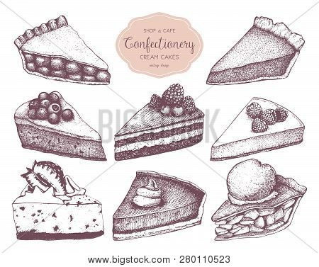 Vector Collection Of Ink Hand Drawn Fruit And Berry Baking Illustration. Vintage Design With Traditi