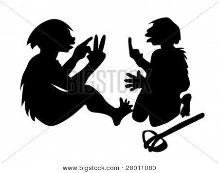 two neanderthal mans on white background, vector illustration