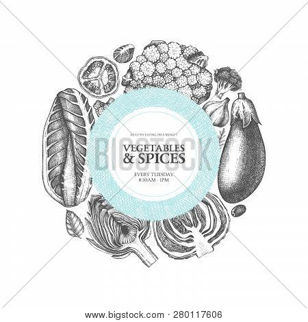 Vector Fresh Market Design On Engraved Background. Vintage Frame With Hand Drawn Vegetables And Spic
