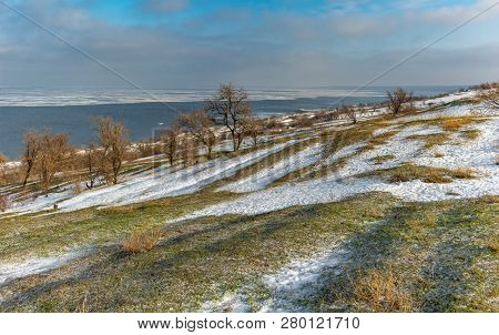 Winter Panoramic Landscape With Kakhovka Reservoir Located On The Dnipro River Near Skelki Village,