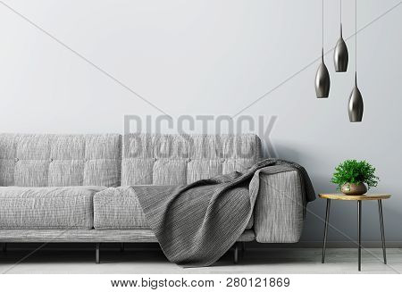 Modern Interior Of Living Room With Gray Sofa, Wooden Coffee Table Over Blue Wall With Copy Space 3d