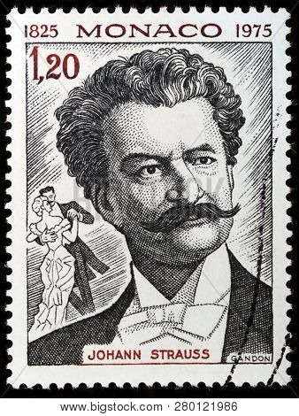 Luga, Russia - January 22, 2019:  A Stamp Printed By Monaco Shows Portrait Of The Waltz King Johann