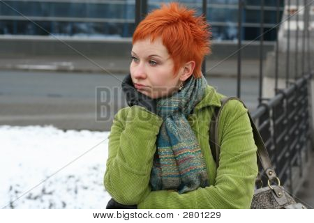 Red-Haired Sad, Lonely Woman In Depression And Pensive Feelings