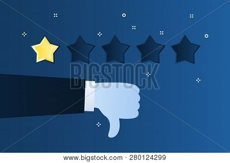 Concept Of Rating. Customer Review. One Star Rating. Thumb Down