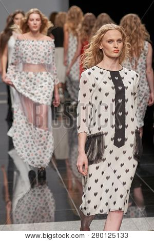 ST. PETERSBURG, RUSSIA - OCTOBER 28, 2015: Collection of Fashion House KOGEL at the fashion show during Mercedes-Benz Fashion Day St. Petersburg. It is one of the most popular fashion events in city