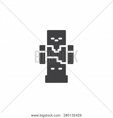 Pixel Robot Vector Icon. Filled Flat Sign For Mobile Concept And Web Design. Gaming Zombie Mob Solid