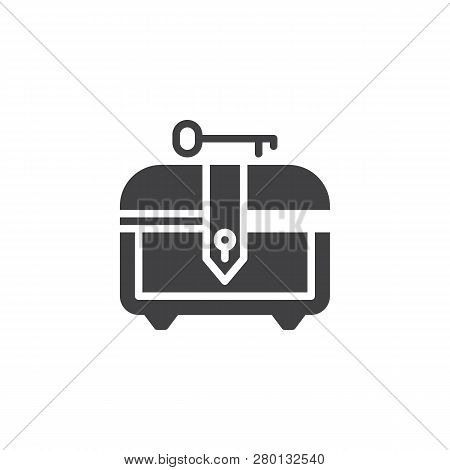 Treasure Chest And Key Vector Icon. Filled Flat Sign For Mobile Concept And Web Design. Chest For Ga