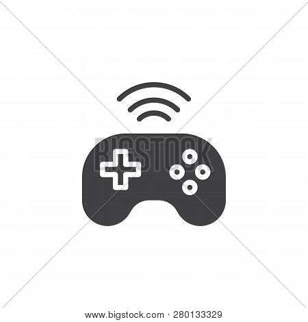 Wireless Console Gamepad Vector Icon. Filled Flat Sign For Mobile Concept And Web Design. Wireless J
