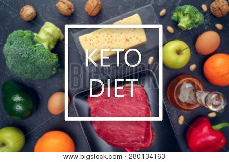 Image of products for ketogenic diet on empty black background in studio.