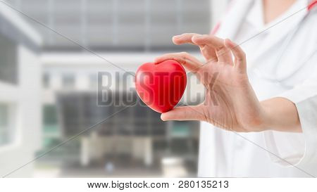 Doctor Holding A Red Heart At Hospital Office.