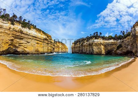 Pacific coast - rocks and bays. Australia. Great ocean road along the Pacific coast. Travel to the edge of the earth. The concept of active tourism