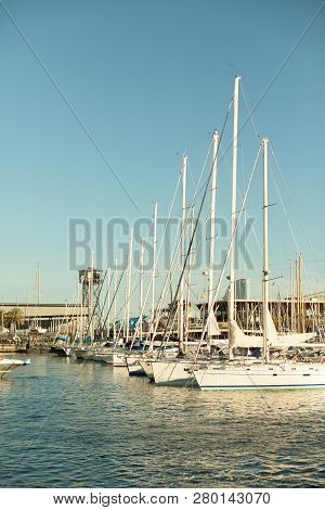 Barcelona, Spain - 23 September, 2018: This Port One Of The Old Ports Of Barcelona