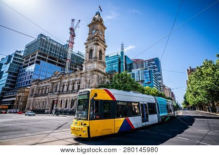 30th December 2018, Adelaide Australia: Adelaide Tram Going To Glenelg With General Post Office A Co