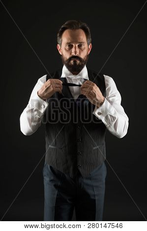 Classy style. Man bearded guy wear white shirt and classic vest outfit. Formal outfit. Elegant outfit mature man. Take good care of your silhouette. How to dress for your age. Elegancy and male style. poster