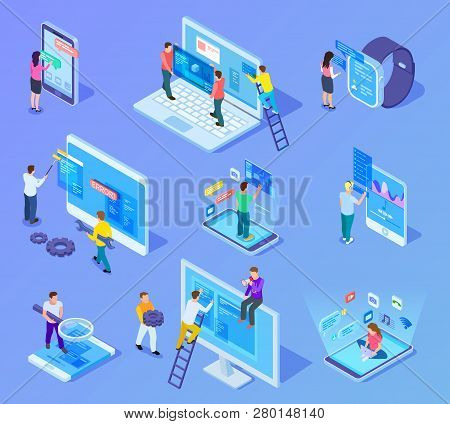 People And App Interfaces Isometric Concept. Users And Developers Work With Mobile Phone And Compute