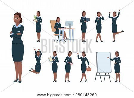 Business Woman Character. Afro-american Office Professional Worker Female In Different Poses Of Acti