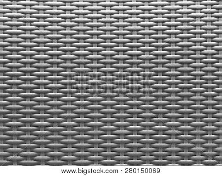 Gray Textured Background Of Modern Plastic Wickerwork Basketry