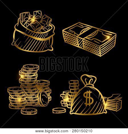 Sketch Of Money. Golden Vector Coins And Money Isolated On Black Background. Illustration Of Money G