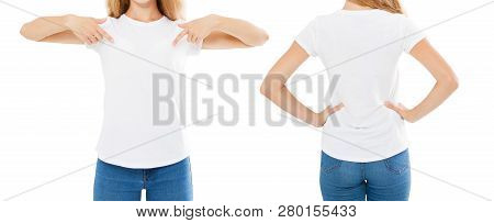 Summer T-shirt Set Isolated On White,woman Pointed On T Shirt,girl Point On Tshirt,cropped Image