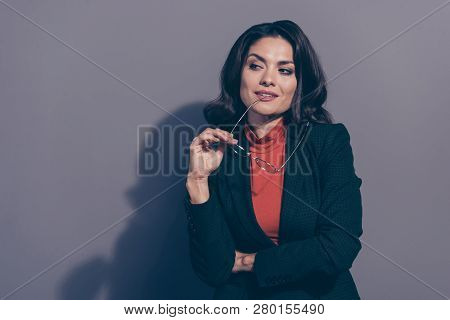 Portrait of her she nice attractive winsome adorable elegant classy chic sly wavy-haired lady eyeglasses eyewear agent broker financier isolated over gray violet pastel background poster