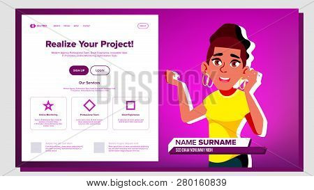 Self Presentation Vector. African American Female. Introduce Yourself Or Your Project, Business. Ill