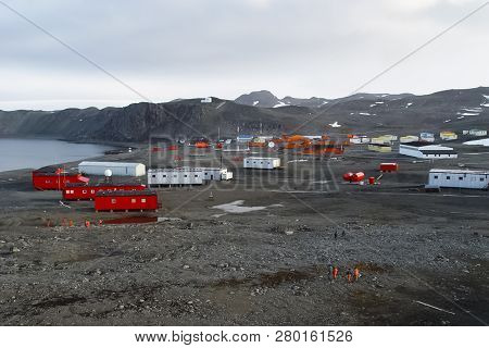 Scientific Station In Antarctica. House Of Researchers In The Antarctic.