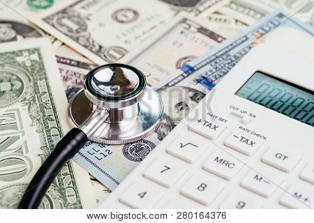 Financial Health Check, Tax Or Medical And Health Care Expense Concept, Stethoscope Put On Fed Feder