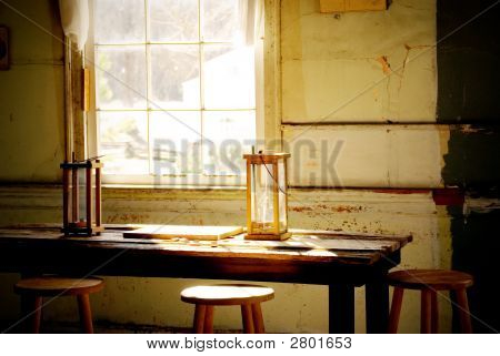Old Candle Reading Lamps By Window