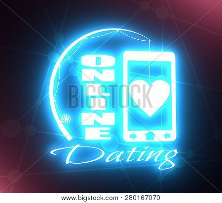 Online Dating App Concept With Fishing Rod And Heart. 3d Rendering