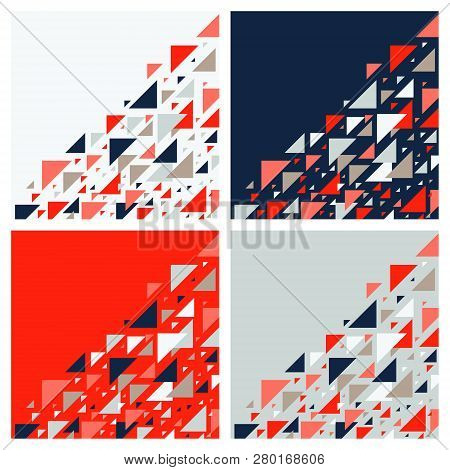 Set Of Four Abstract Geometric Backgrounds - Multicolor Triangles Mosaic Pattern