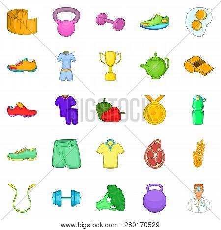 Healthy Lifestyle Icons Set. Cartoon Set Of 25 Healthy Lifestyle Icons For Web Isolated On White Bac