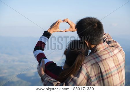 Couple In Love, Focus On Hands, Man And Woman Tourists In The Mountains,  Happy Couple In Love,  Lov