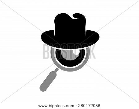 Hat And Loupe For A Detective Spy Logo Design