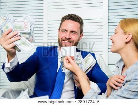 Man Business Owner Sit Office Pile Of Money. Bank Assistant Offer Plastic Card. Create Bank Account.