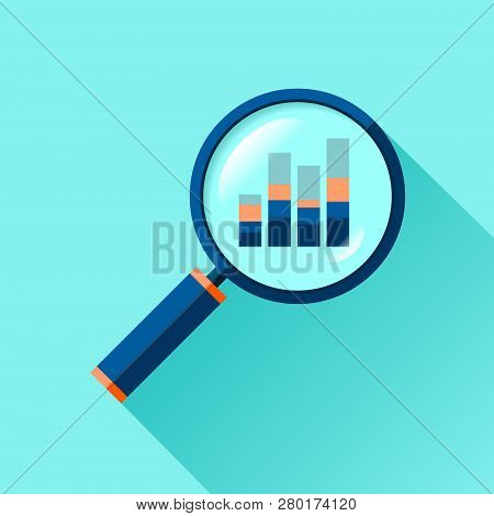 Magnifying Glass Icon In Flat Style. Search Loupe On Color Background. Business Analytic Illustratio