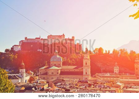 Salzburg, Austria. Sunset Scenery In Summer Spring From Above. View Of The Historic City Of Salzburg