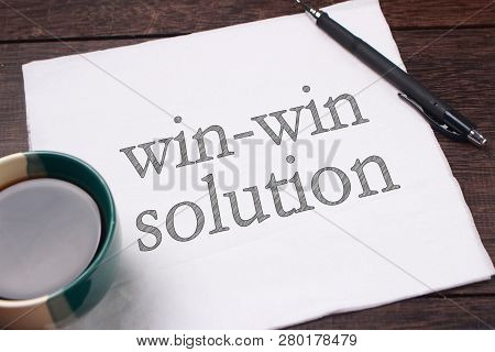 Win-win Solution Words Letter. Motivational Business Writing Typography Quotes Concept