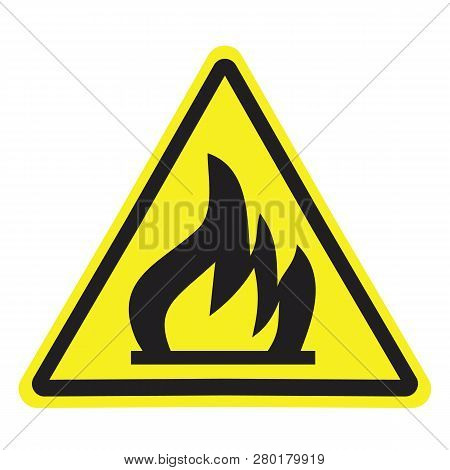 Fire Warning Sign In Yellow Triangle. Flammable