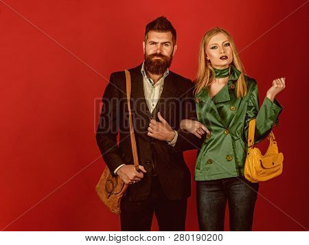 In Their Own Style. Love Relations. Autumn Fashion Trends. Couple In Love In Fashionable Style. Fash