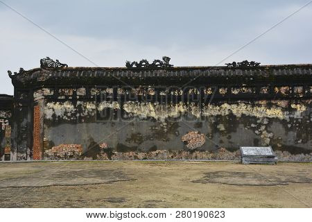 A Remaining Wall On The Site Of The Now Destroyed Can Thanh Palace In The Imperial City, Hue, Vietna