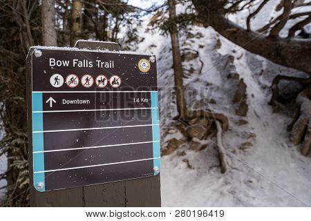 Banff, Alberta Canada - Janurary 17, 2019: Trailhead Sign For Bow Falls, A Popular Waterfall Hike In