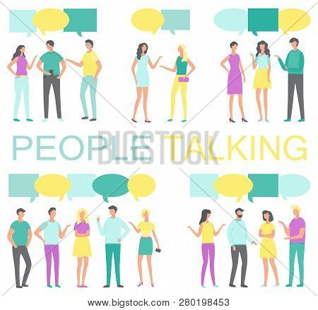 People Talking And Discussing Something Poster Vector. Human With Smartphone In Hands And Thought Bu